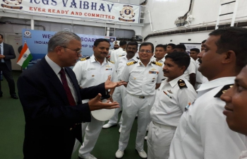 High Commissioner Dr. A.M Gondane Visiting ship and encouraging the young crew