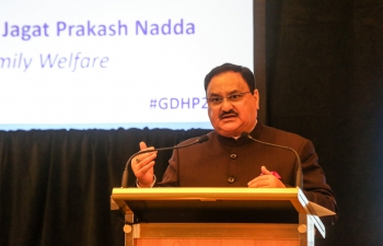 Hon. Minister J.P Nadda addressing Global Digital Health Partnership Symposium at old Parliament in Canberra