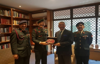 Indian Army delegation led by Brig Gajendra Joshi, calling on the High commissioner