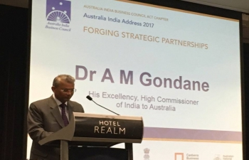 High commissioner Dr. A. M. Gondane speaking at AIBC Australia-India Add