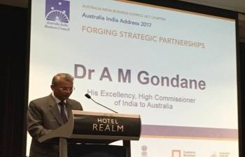 High commissioner Dr. A. M. Gondane speaking at AIBC Australia-India Add