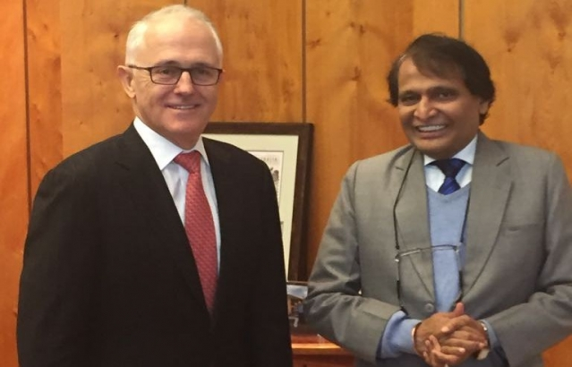 Hon'ble Commerce Minister Sh. Suresh Prabhu called on Australian Prime Minister Mr. Malcom Turnbull in Canberra.