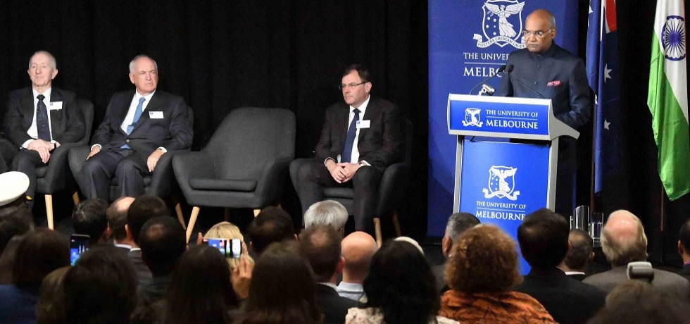 The President of India, Shri Ram Nath Kovind, addressing Sydney Myer Asia Centre, University of Melbourne at Melbourne, Australia.
