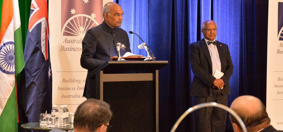 The President of India, Shri Ram Nath Kovind, addressing at AIBC Event in Sydney, Australia.