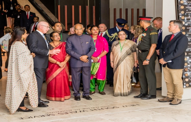 Hon. President being escorted during Wreath Laying at Anzac War Memorial on 21-11-18