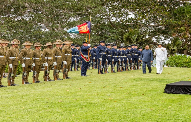 Hon. President inspecting the guard of honour on 22-11-2018