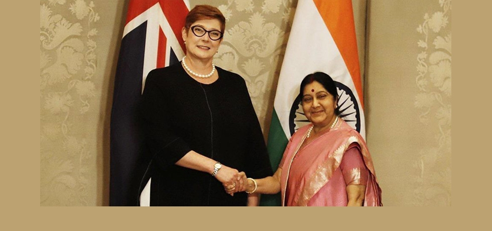 Her Excellency Marise Payne, Foreign Minister of Australia met Honorable External Affair Minister of India Smt. Sushma Swaraj during her visit to New Delhi for 4th Raisina Dialogue.
