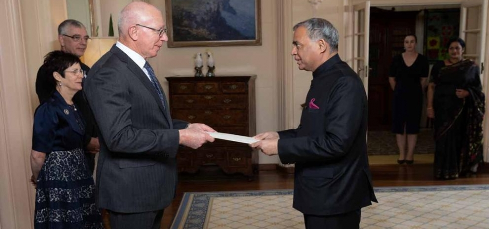 High Commissioner of India Mr. A. Gitesh Sarma presented his Credentials to H.E. General the Honourable David Hurley AC DSC (Retd.), Governor-General of Australia.
