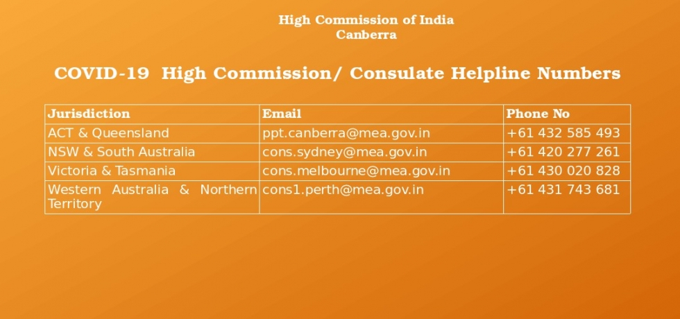 COVID-19 High Commission/ Consulate Helpline Numbers