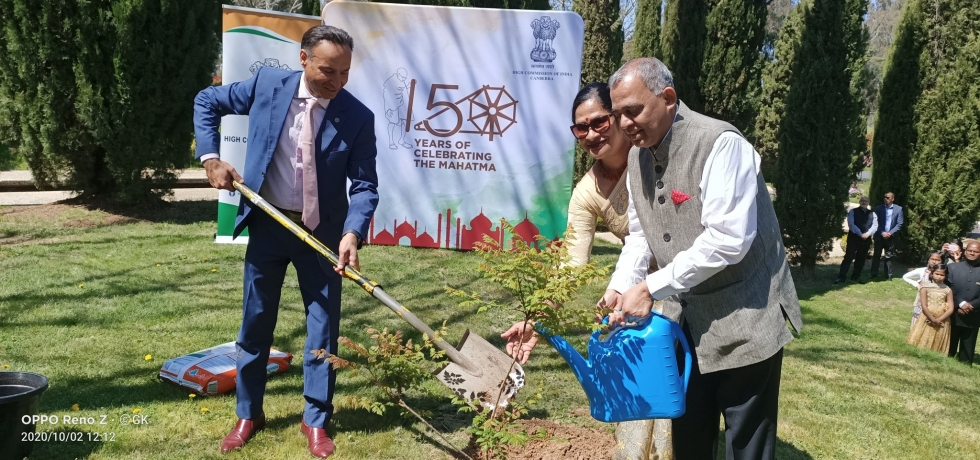 High Commissioner A. Gitesh Sarma planted a sapling in the Chancery premises on the occasion of Gandhi Jayanti